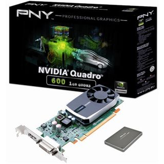 1GB PNY Quadro 600 inkl. 120GB PNY SSD Aktiv PCIe 2.0 x16 (Retail)