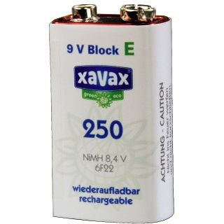 Xavax 9V / E Block Nickel-Metall-Hydrid 250 mAh 1er Pack