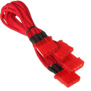 BitFenix Molex zu 3x Molex Adapter 55cm - sleeved red/red