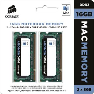 16GB Corsair Mac Memory DDR3-1600 SO-DIMM CL11 Dual Kit