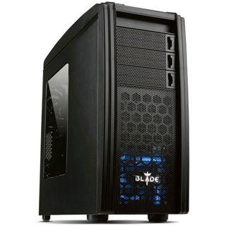 Akasa Blade Midi Tower ohne Netzteil schwarz/blau