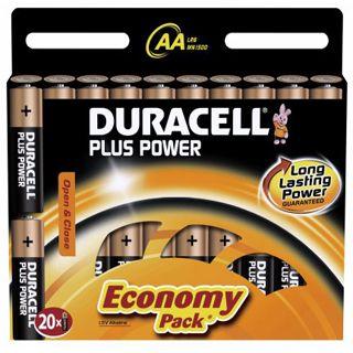 Duracell Plus Power LR6 Alkaline AA Mignon Batterie 1.5 V 20er Pack