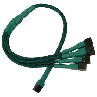 Nanoxia 30 cm grünes Adapterkabel für 3-Pin Molex zu 4x