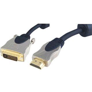 2.00m Good Connections Video Anschlusskabel Home Cinema 19pol HDMI Stecker auf DVI 24+1 Stecker Schwarz/Silber Ferritkern
