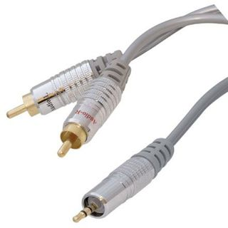 1.50m ShiverPeaks Audio Anschlusskabel 2xCinch Stecker auf 3.5mm Klinke Stecker Stereo Silber vergoldet