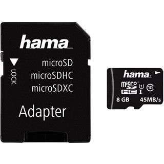 8 GB Hama UHS-I 45MB/s microSDHC Class 10 Retail inkl. Adapter
