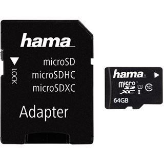 64 GB Hama UHS-I microSDXC Class 10 Retail inkl. Adapter