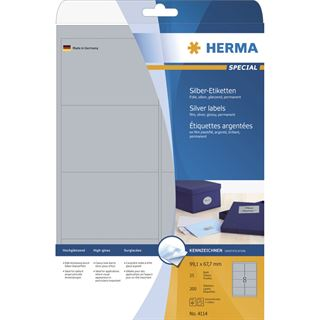 Herma 4114 silber Universal-Etiketten 9.91x6.67 cm (25 Blatt (200 Etiketten))