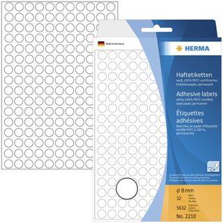 Herma 2210 rund Vielzwecketiketten 0.8x0.8 cm (32 Blatt (5632 Etiketten))