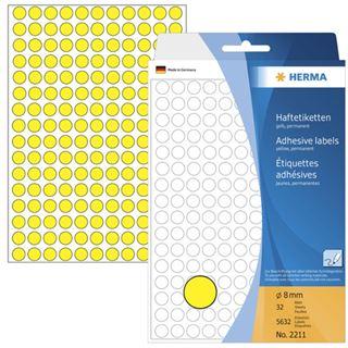 Herma 2211 gelb rund Vielzwecketiketten 0.8x0.8 cm (32 Blatt (5632 Etiketten))