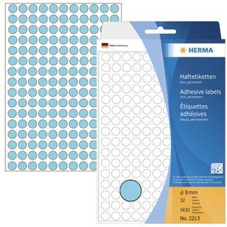 Herma 2213 blau rund Vielzwecketiketten 0.8x0.8 cm (32 Blatt (5632