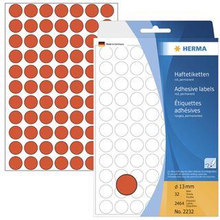 Herma 2232 rot rund Vielzwecketiketten 1.3x1.3 cm (32 Blatt (2464