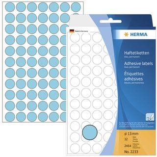 Herma 2233 blau rund Vielzwecketiketten 1.3x1.3 cm (32 Blatt (2464
