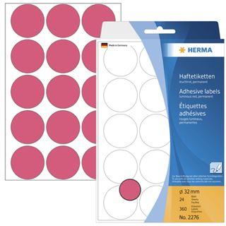 Herma 2276 rot rund Vielzwecketiketten 3.2x3.2 cm (24 Blatt (360 Etiketten))