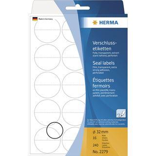 Herma 2279 perforiert Verschlussetiketten 3.2x3.2 cm (16 Blatt (240Etiketten))