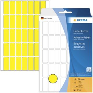 Herma 2351 gelb Vielzwecketiketten 1.2x3 cm (32 Blatt (1120 Etiketten))