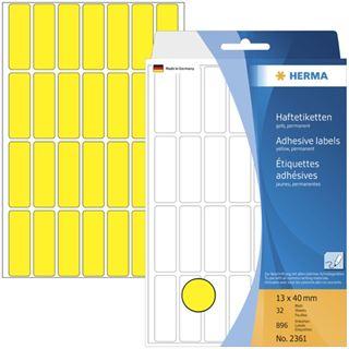 Herma 2361 gelb Vielzwecketiketten 1.3x4 cm (32 Blatt (896 Etiketten))