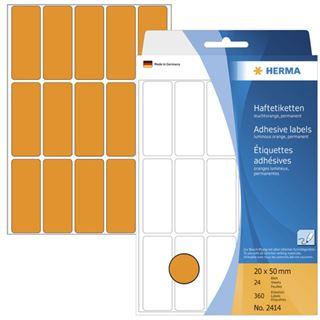 Herma 2414 leuchtorange Vielzwecketiketten 2x5 cm (24 Blatt (360 Etiketten))