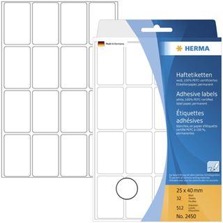 Herma 2450 Vielzwecketiketten 2.5x4 cm (32 Blatt (512 Etiketten))