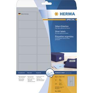 Herma 4098 silber Universal-Etiketten 6.35x2.96 cm (25 Blatt (675