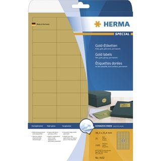 Herma 4102 gold Universal-Etiketten 4.83x2.54 cm (25 Blatt (1100
