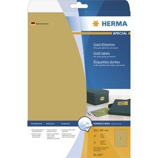 Herma 4107 gold Universal-Etiketten 21.0x29.7 cm (25 Blatt (25