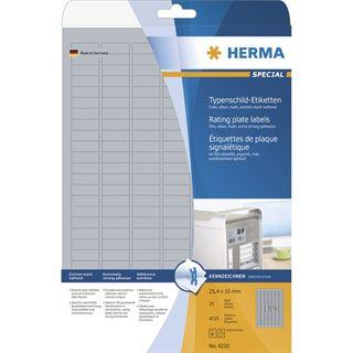 Herma 4220 silber extrem stark haftend Typenschild-Etiketten 1x2.5 cm (25 Blatt (4725 Etiketten))