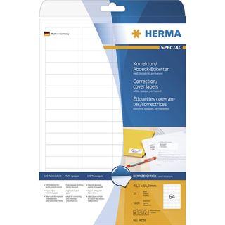 Herma 4226 Korrektur-Etiketten 4,85x1,69 cm (25 Blatt (1600 Etiketten))