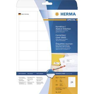 Herma 4227 Korrektur-Etiketten 6.6x3.38 cm (25 Blatt (600 Etiketten))