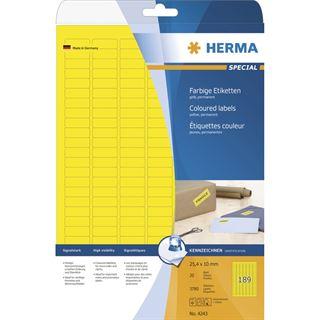 Herma 4243 gelb Universal-Etiketten 2.54x1 cm (20 Blatt (3780