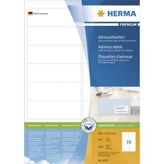 Herma 4267 Adressetiketten 9.91x3.38 cm (100 Blatt (1600 Etiketten))