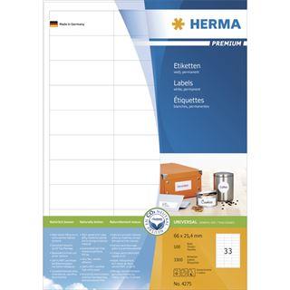 Herma 4275 Premium Universal-Etiketten 6.6x2.54 cm (100 Blatt (3300 Etiketten))