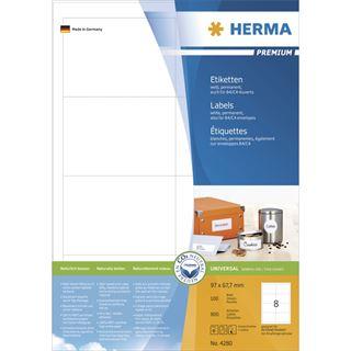 Herma 4280 Premium Universal-Etiketten 9.7x6.77 cm (100 Blatt (800