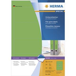 Herma 4299 blickdicht gruen Ordneretiketten 19.2x6.1 cm (100 Blatt (400 Etiketten))