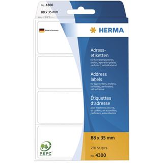 Herma 4300 endlos Adressetiketten für Schreibmaschinen 8.8x3.5 cm (250 Stück)