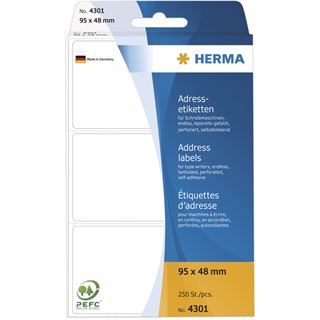 Herma 4301 endlos Adressetiketten für Schreibmaschinen 9.5x4.8 cm (250 Stück)