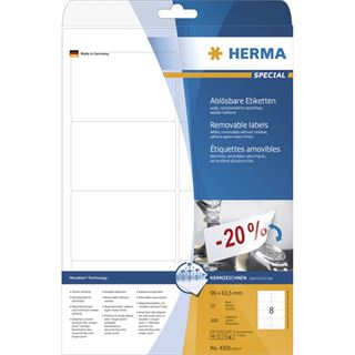 Herma 4350 ablösbar Universal-Etiketten 9.6x6.35 cm (25 Blatt