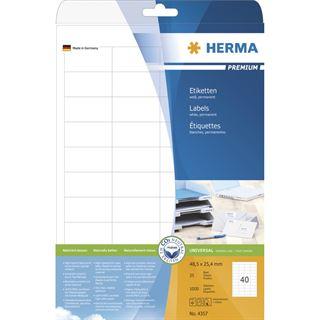 Herma 4357 Premium Universal-Etiketten 4.85x2.54 cm (25 Blatt (1000