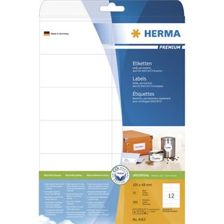 Herma 4363 Premium Universal-Etiketten 10.5x4.8 cm (25 Blatt (300 Etiketten))
