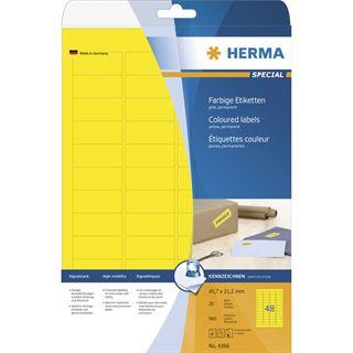 Herma 4366 gelb Universal-Etiketten 4.57x2.12 cm (20 Blatt (960