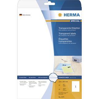Herma 4375 Folie Transparent-Etiketten 21.0x29.7 cm (25 Blatt (25 Etiketten))