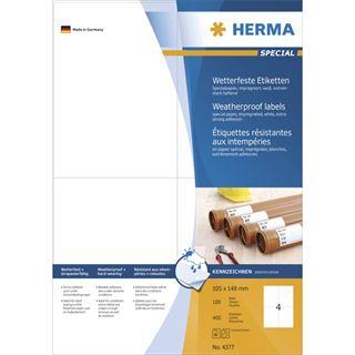 Herma 4377 wetterfest Universal-Etiketten 10.5x14.8 cm (100 Blatt