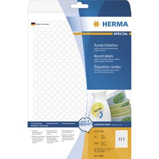 Herma 4385 rund Universal-Etiketten 1x1 cm (25 Blatt (7875 Etiketten))