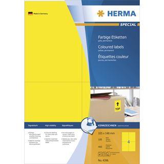 Herma 4396 gelb Universal-Etiketten 10.5x14.8 cm (100 Blatt (400 Etiketten))