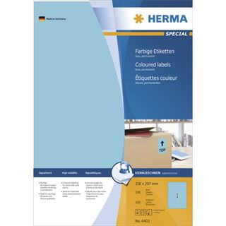 Herma 4403 blau Universal-Etiketten 21.0x29.7 cm (100 Blatt (100