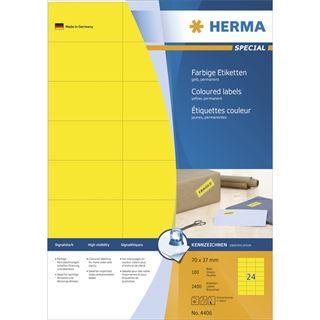 Herma 4406 gelb Universal-Etiketten 7.0x3.7 cm (100 Blatt (2400