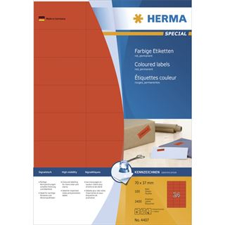 Herma 4407 rot Universal-Etiketten 7.0x3.7 cm (100 Blatt (2400 Etiketten))