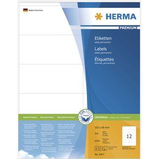 Herma 4417 Premium Universal-Etiketten 10.5x4.8 cm (500 Blatt (6000 Etiketten))