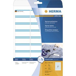Herma 4419 ablösbar blau Acetatseide Namensetiketten 6.35x2.96 cm (25 Blatt (675 Etiketten))