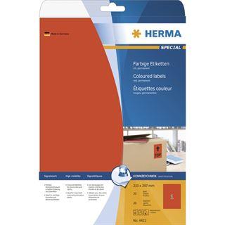 Herma 4422 rot Universal-Etiketten 21.0x29.7 cm (20 Blatt (20 Etiketten))